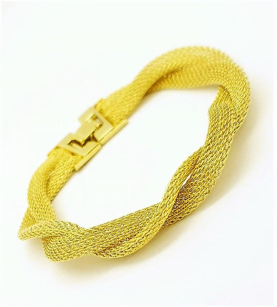 Pulseira Trança Malha Italiana Banhada A Ouro 18k 1845