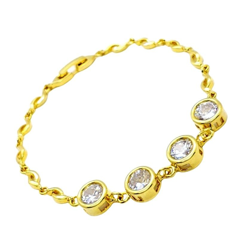Pulseira Zirconias Cristal Banho De Ouro 18k 4216
