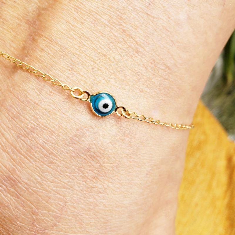 Tornozeleira Olho Grego 25cm Banho De Ouro 18k 2178