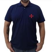 Camisa Pólo Azul Marinho Cruz Templária em Vermelho