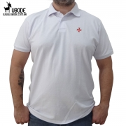 Camisa Pólo Branca Cruz Templária em Vermelho