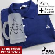 Camiseta Pólo Esquadro e Compasso Azul + Caneca de  Chopp (Ilustração a escolher)