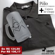 Camiseta Pólo Esquadro e Compasso Grafiti + Caneca de  Chopp (Ilustração a escolher)