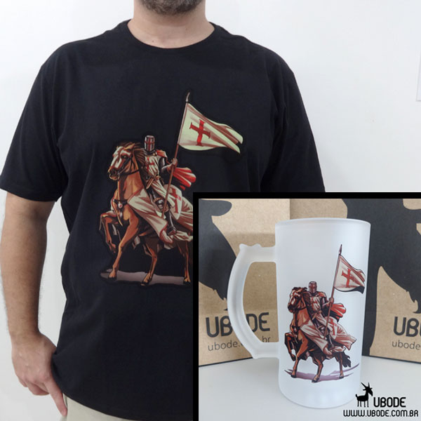 Camiseta Cavaleiro Templário (cores) + Caneca de Chopp Cavaleiro Templário
