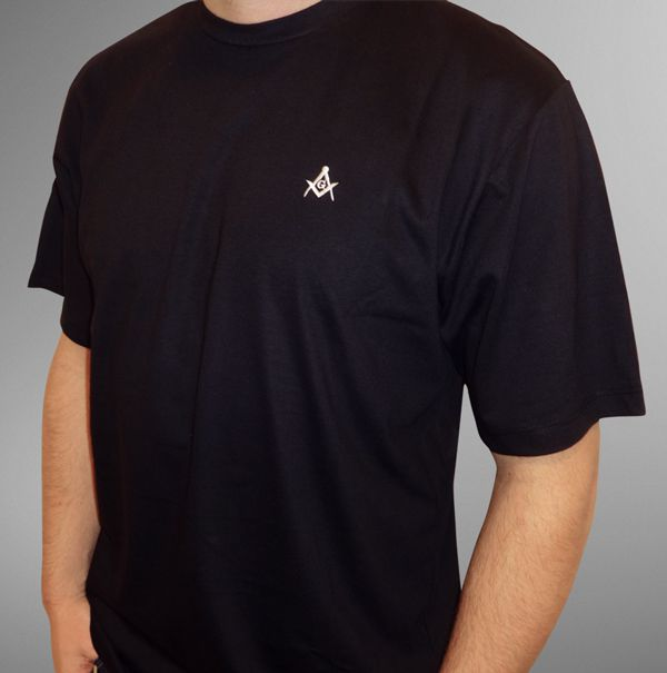 Camiseta Esquadro e Compasso Bordada Preta