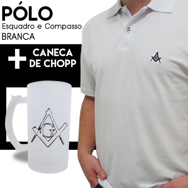 Camiseta Pólo Esquadro e Compasso Branca + Caneca de Chopp