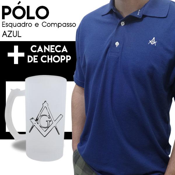 Camiseta Pólo Esquadro e Compasso Azul + Caneca de Chopp