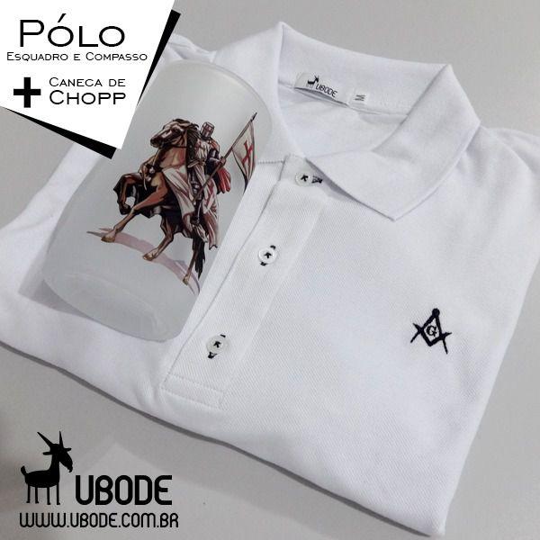 Camiseta Pólo Esquadro e Compasso Branca + Caneca de  Chopp (Ilustração a escolher)