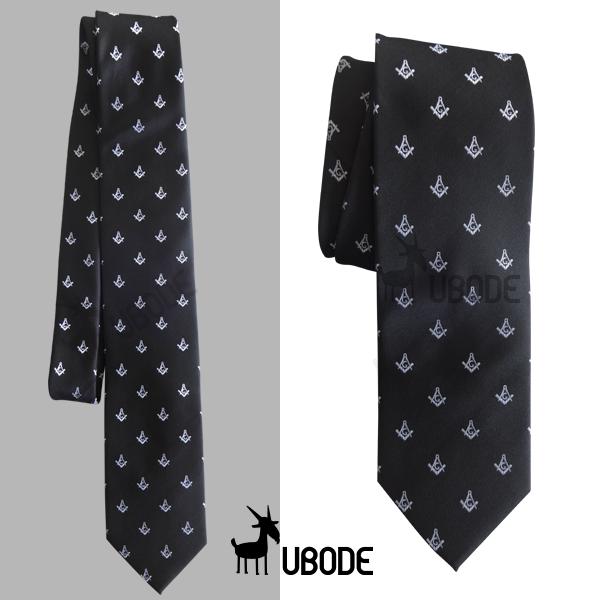 Gravata Slim preta com esquadro e compasso bordados em branco