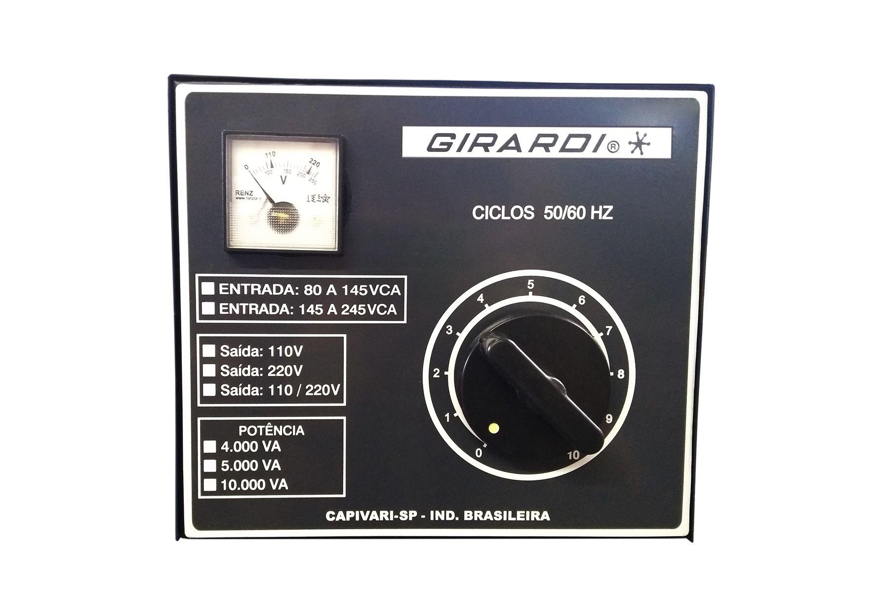Regulador Manual De Tensão / Voltagem Girardi 10000 VA Entrada 220 Saída Bivolt