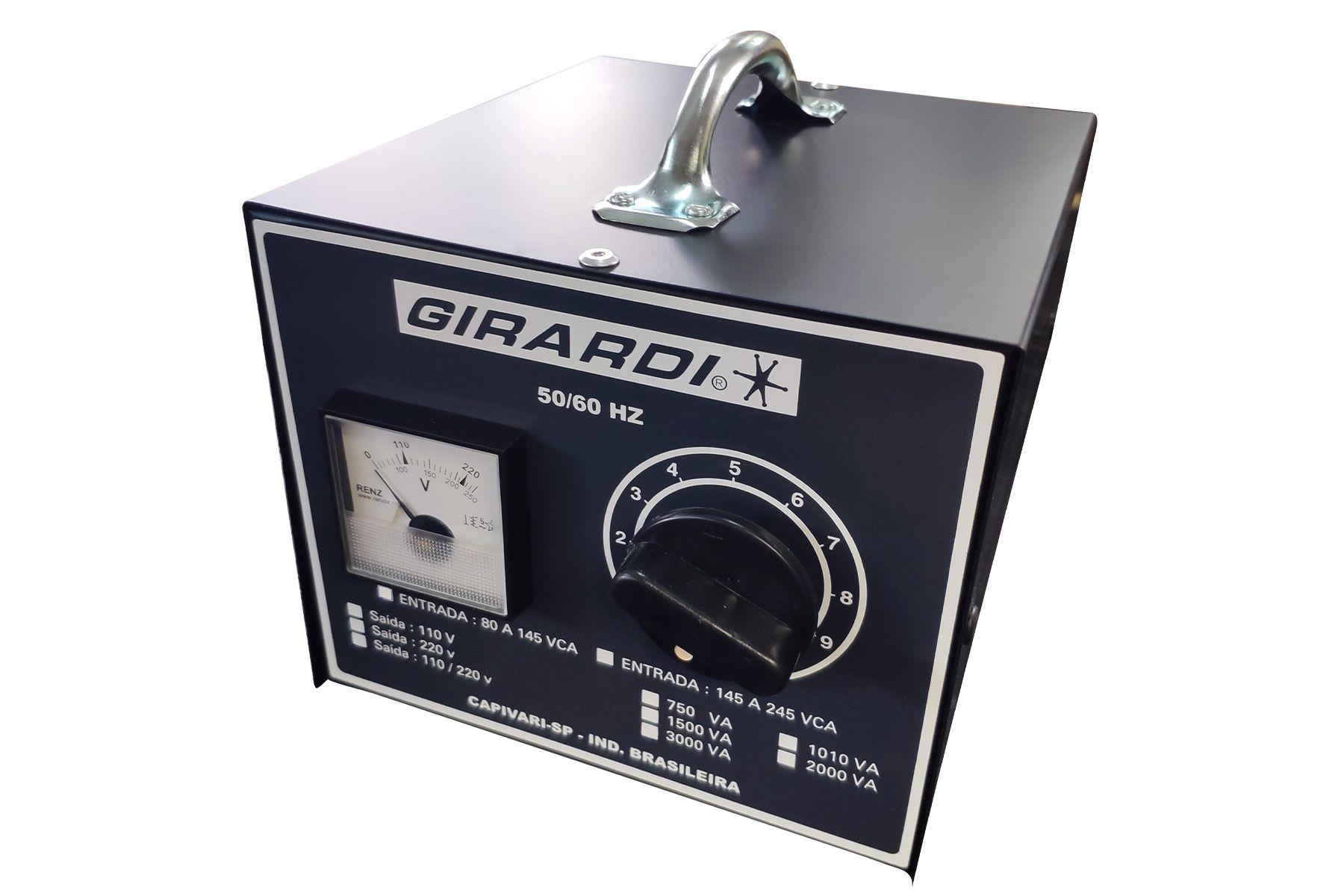 Regulador Manual De Tensão / Voltagem Girardi 1500 VA Entrada 220V Saída Bivolt