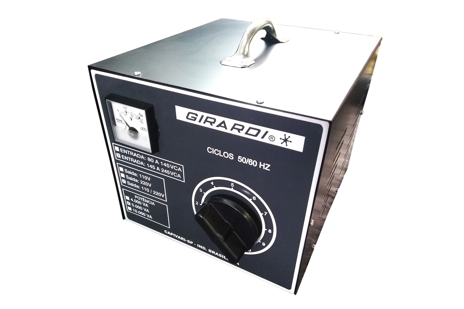 Regulador Manual De Tensão / Voltagem Girardi 7500 VA Entrada 220 Saída Bivolt