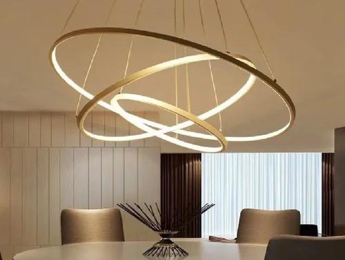 Lustre Pendente Moderno Anéis Led 89w 3 Arco Dourado