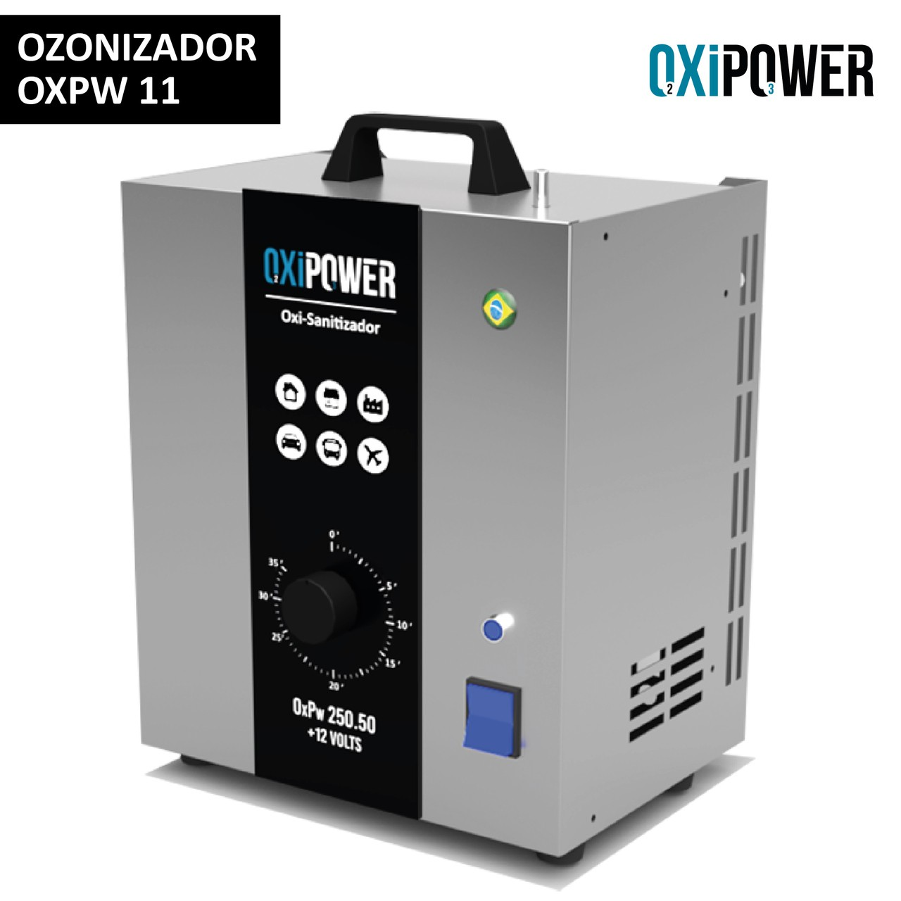 OXPW 11 - OXI-SANITIZADOR 2X1 PARA OZONIZADOR AR E ÁGUA - OXI 250.50 + 12 VOLTS