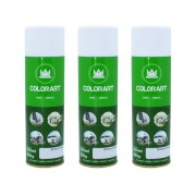 3 Tinta Spray Metal Madeira Branco Fosco Colorart Artesanato