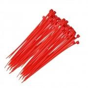 Abraçadeira Nylon Vermelho 100 Unidades 2,5 X 200 mm