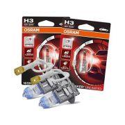Lampada Farol de Milha Carro H3 Osram Night Breaker Unlimited 110%+Luz 3900k Branca Permito Original