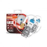 Par Lâmpadas Farol Carro Osram Night Breaker Laser H3 3900K 12V 55W 150% + Luz Farol Milha Original