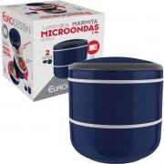 Marmita Lunch Box Microondas Dupla 1,4L - Euro Home - Azul