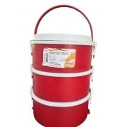 Marmita Térmica 3 Andares Com Alça Dobrável 1,5l Vermelho Gu