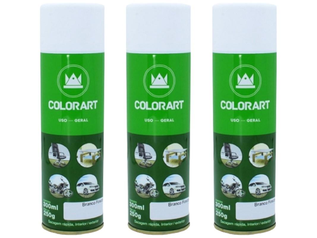 3 Tinta Spray Metal Madeira Branco Fosco Colorart Artesanato  - Rea Comércio - Sua Loja Completa!