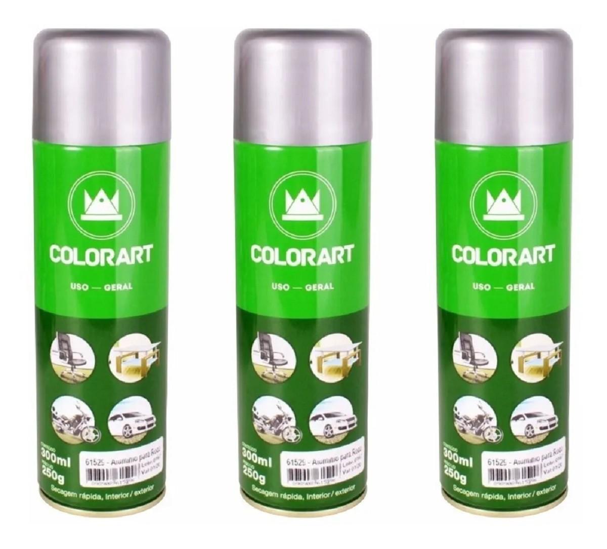 3 Tinta Spray Uso Geral Alumínio Opalescente Colorart  - Rea Comércio - Sua Loja Completa!