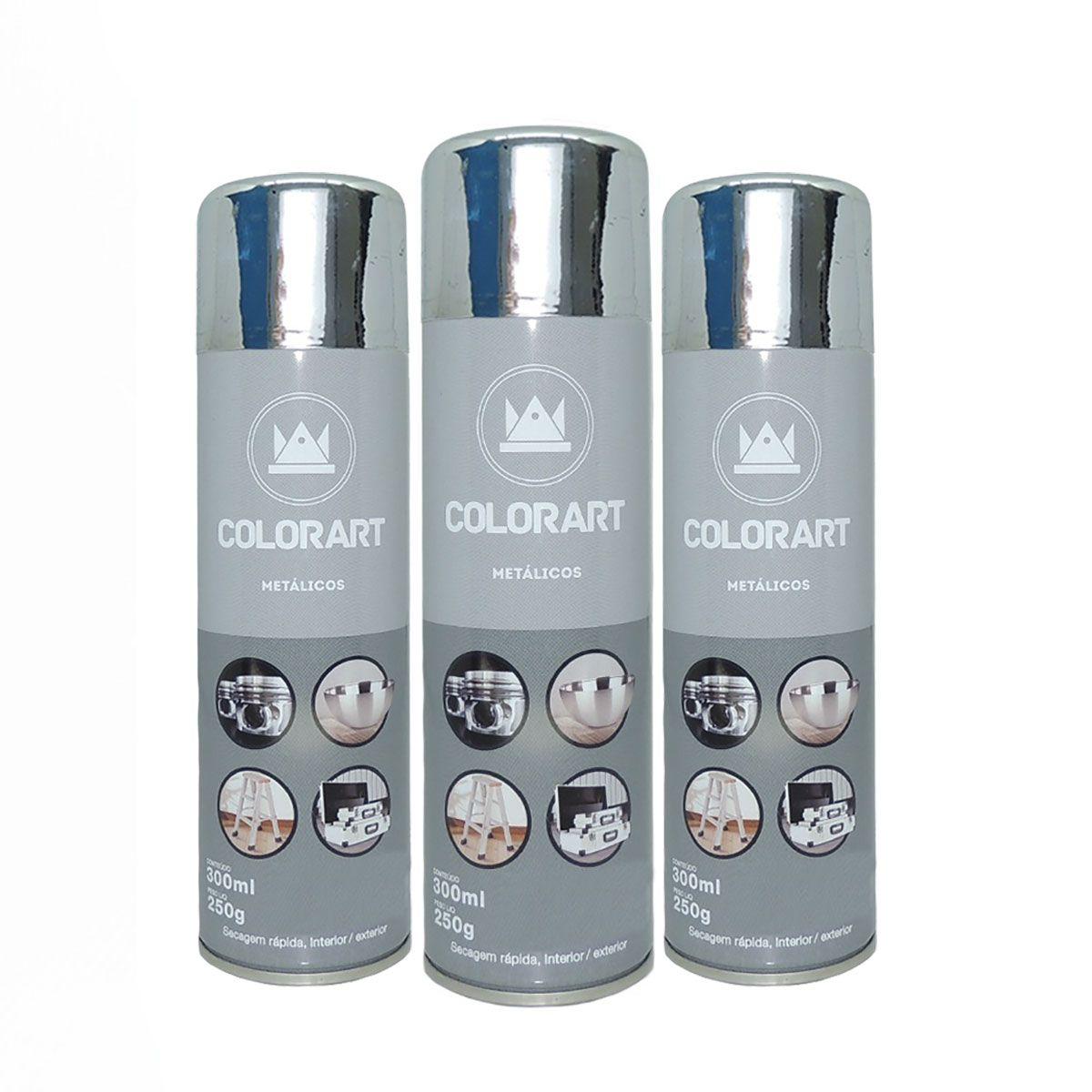 3 Tintas Spray Cores Metálicas Colorart Cromado