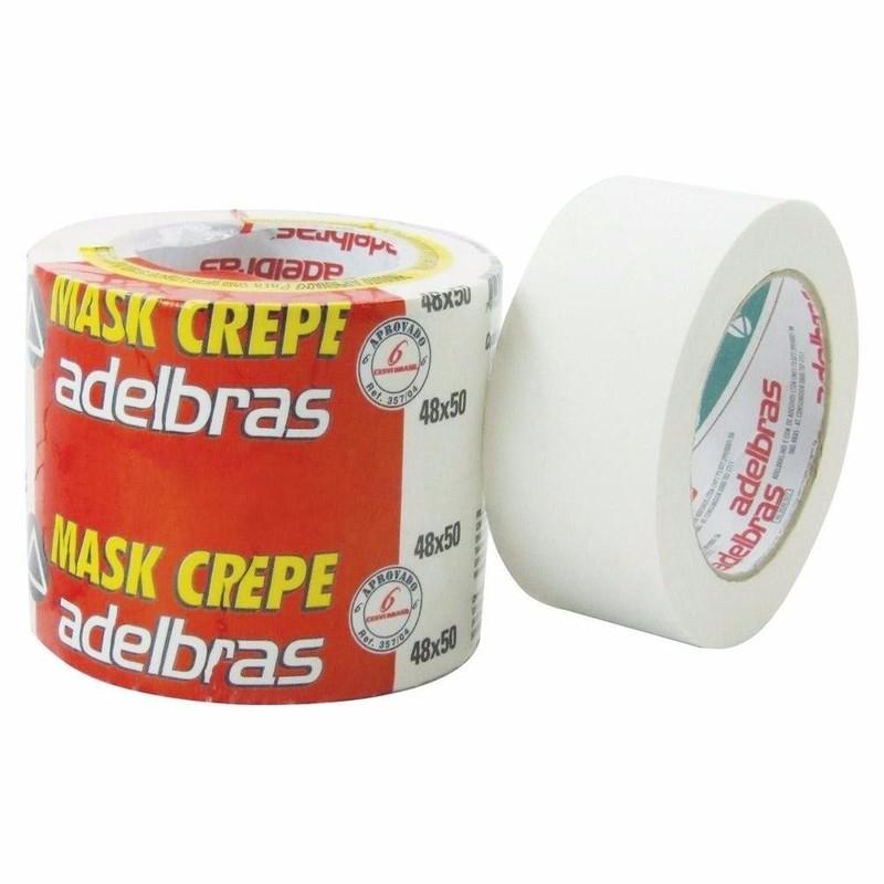 4 Fita Crepe Adelbras Mask 710 48mm X 50m  - Rea Comércio - Sua Loja Completa!