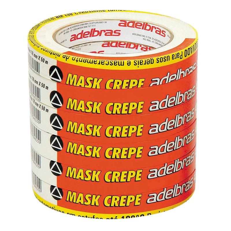 6 Fita Crepe Adelbras Mask 710 18mm X 50m  - Rea Comércio - Sua Loja Completa!