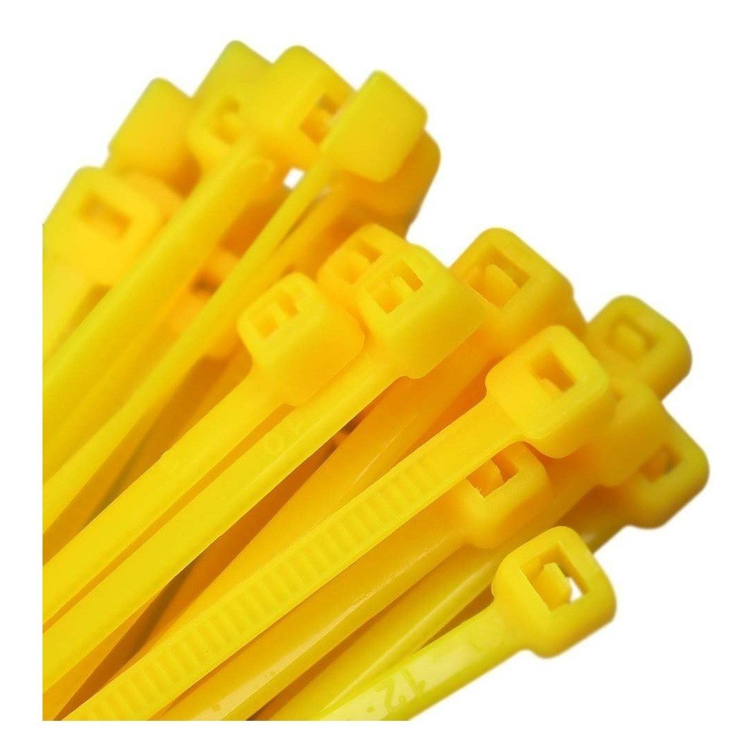 Abraçadeira Nylon Amarela 100 Unidades 2,5 X 100 mm  - Rea Comércio - Sua Loja Completa!