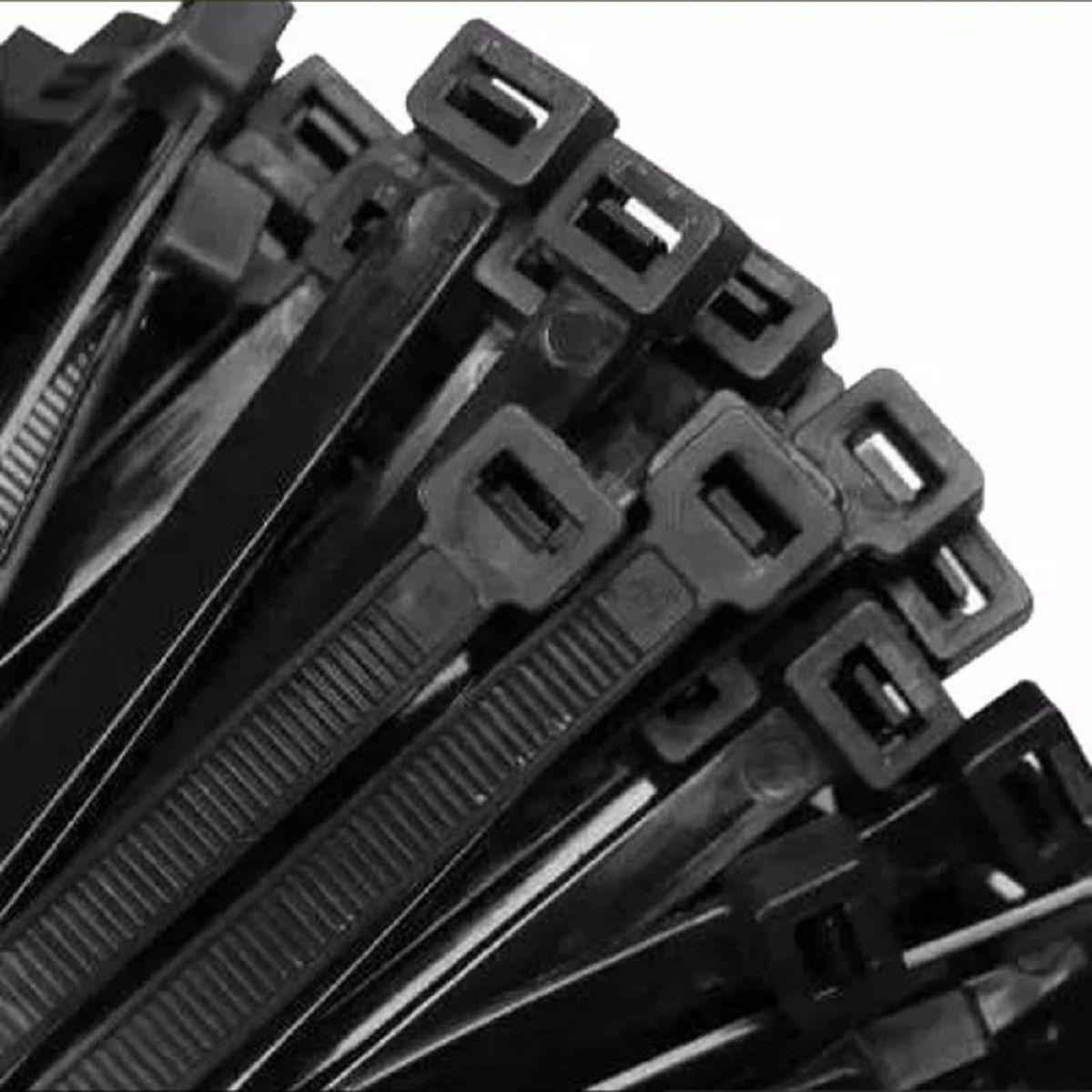 Abraçadeira Nylon Preta 100 Unidades 7,5 X 400 mm  - Rea Comércio - Sua Loja Completa!