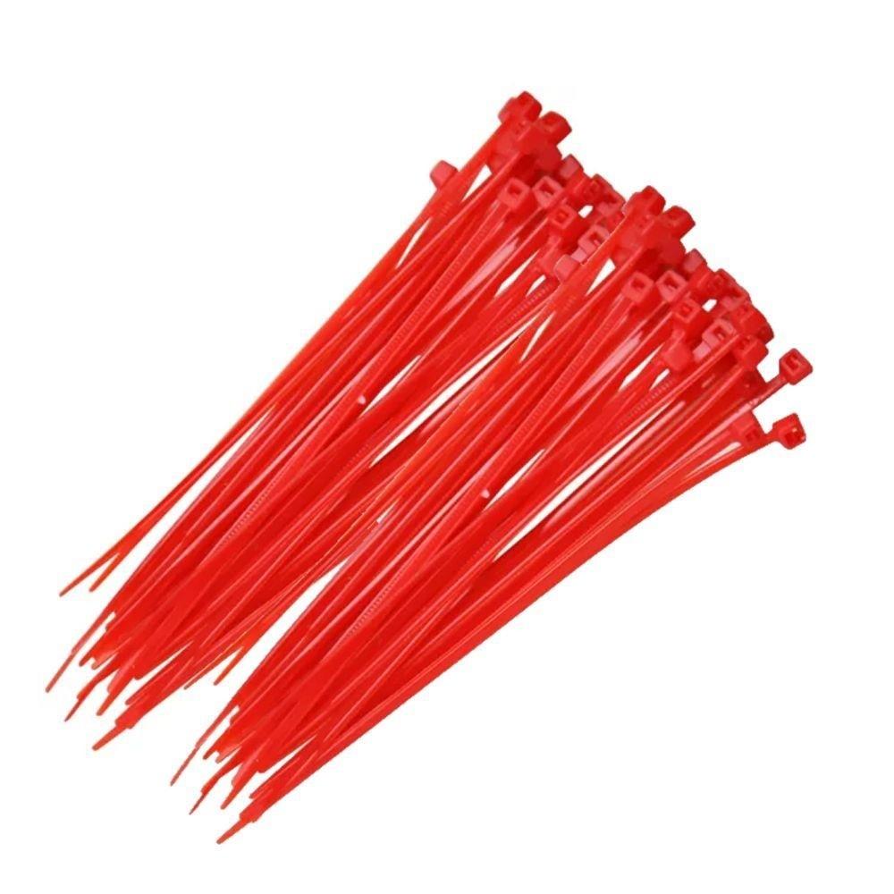 Abraçadeira Nylon Vermelho 100 Unidades 2,5 X 200 mm  - Rea Comércio - Sua Loja Completa!