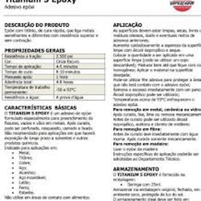 Adesivo Epox Titanium 25ml  - Rea Comércio - Sua Loja Completa!