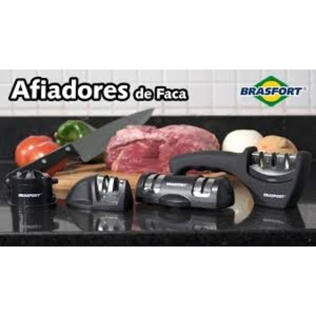 Afiador De Facas 2 Em 1 Chef Preto Brasfort-7457 C Ventosa  - Rea Comércio - Sua Loja Completa!