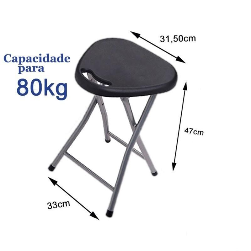 Banqueta Banco Assento  Dobrável com Alça Preto - Secalux -5  - Rea Comércio - Sua Loja Completa!