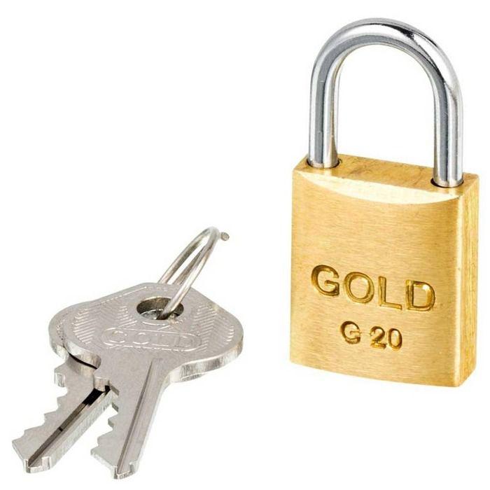 Cadeado Latão 20mm Gold