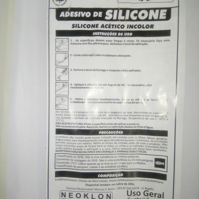 Cola Silicone Acético Transparente Uso Geral Incolor Neoklon  - Rea Comércio - Sua Loja Completa!