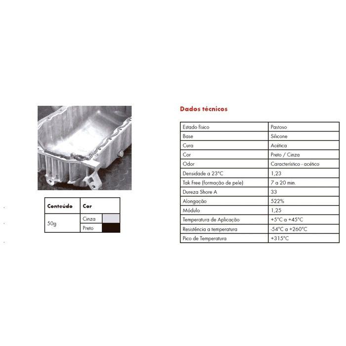 Cola Silicone Motor Alta Temperatura Acético Cinza 50g  - Rea Comércio - Sua Loja Completa!