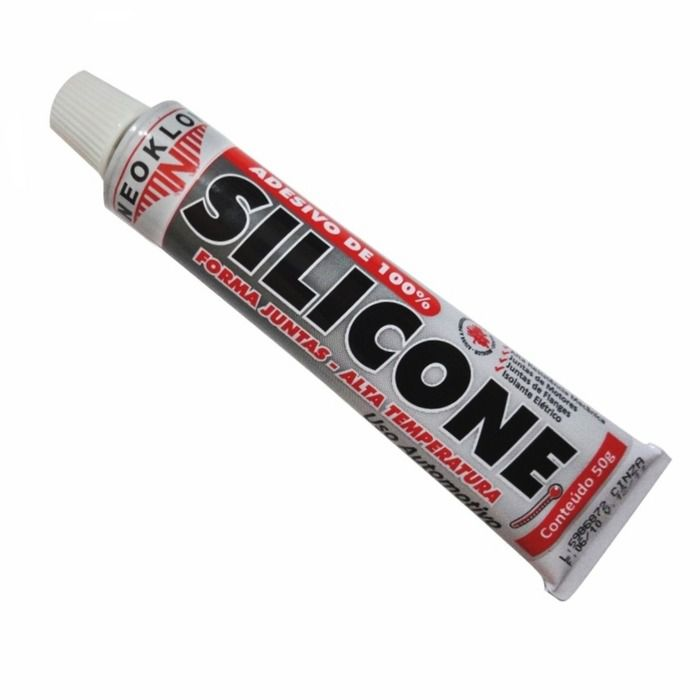Cola Silicone Motor Alta Temperatura Acético Preto 50g