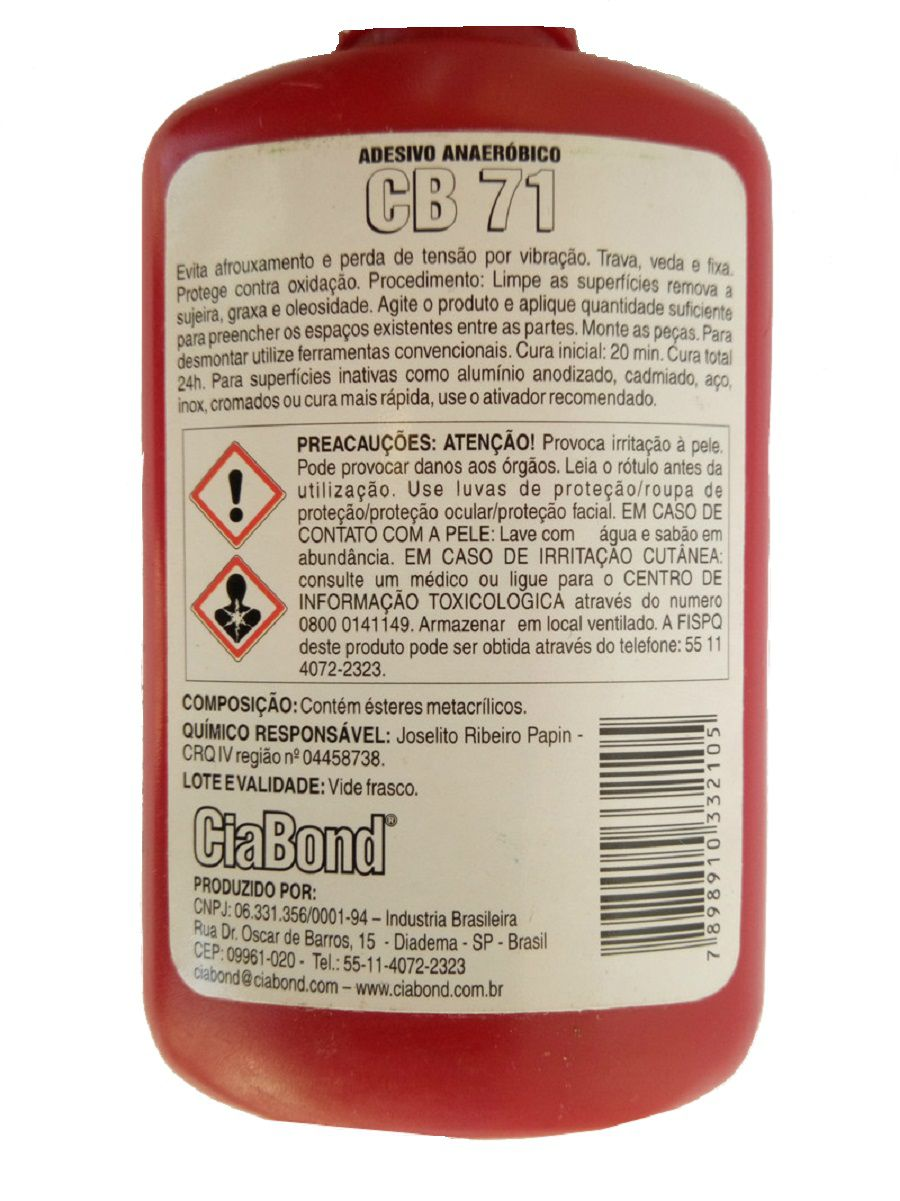 Cola Trava Rosca Alto Torque Médio CB 71 Ciabond 50gs  - Rea Comércio - Sua Loja Completa!