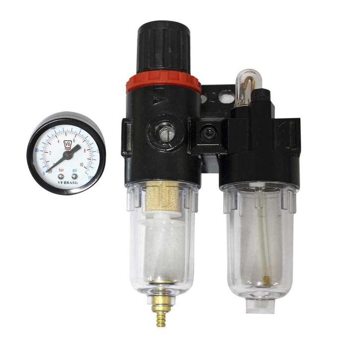 Filtro De Ar 1/4 Lubrifil Com Regulador De Pressão  - Rea Comércio - Sua Loja Completa!