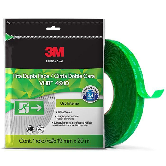 Fita VHB Dupla Face 3m Fixa Forte Transparente 4910 19mm x 2  - Rea Comércio - Sua Loja Completa!