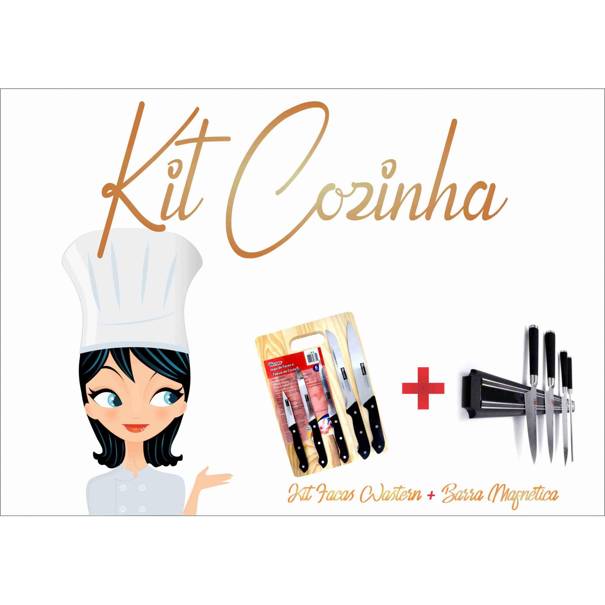 Kit 5 Facas C/Tabua para Cortes + Barra Magnética  - Rea Comércio - Sua Loja Completa!
