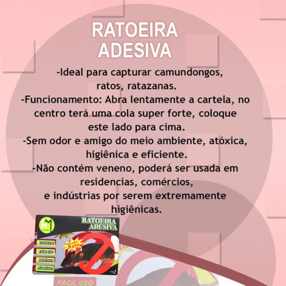 Kit 5 Ratoeira Adesiva Cola Gruda Armadilha Capturar Ratos Ratazanas Camundongo  - Rea Comércio - Sua Loja Completa!
