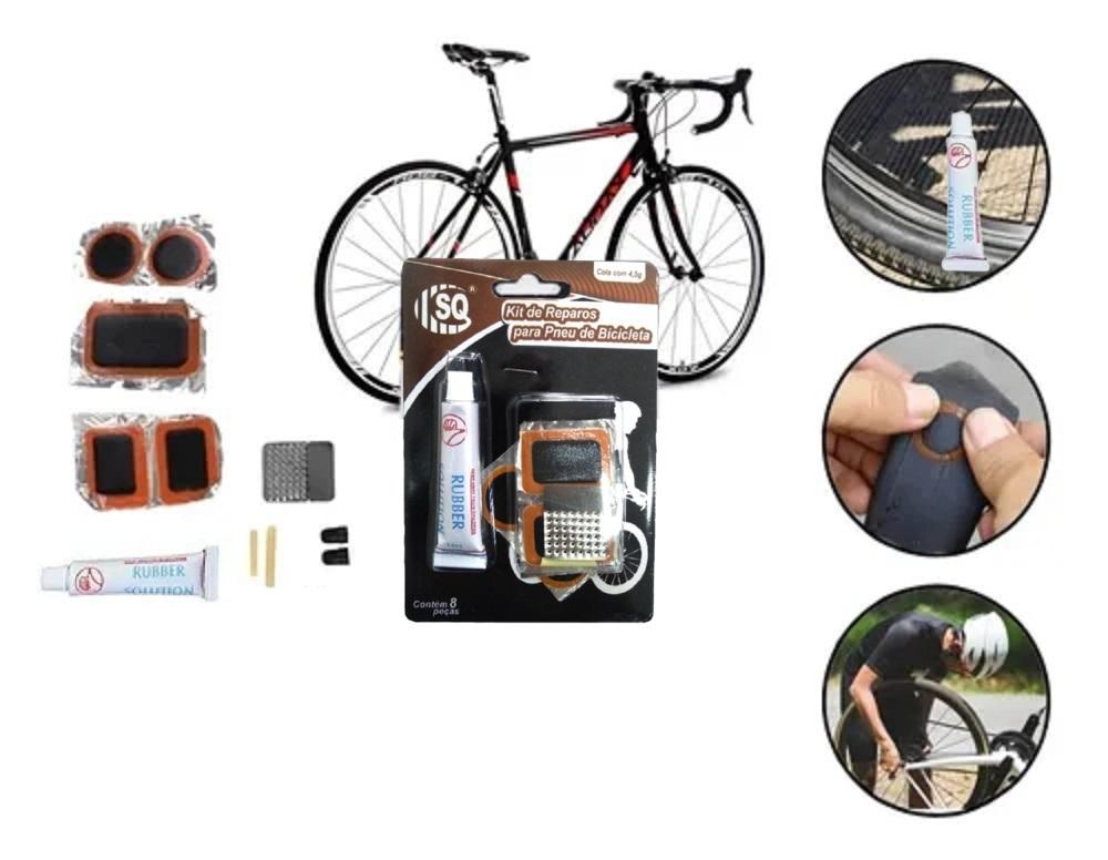 Kit De Reparos Para Pneu De Bicicleta C/ 8 Peças  - Rea Comércio - Sua Loja Completa!