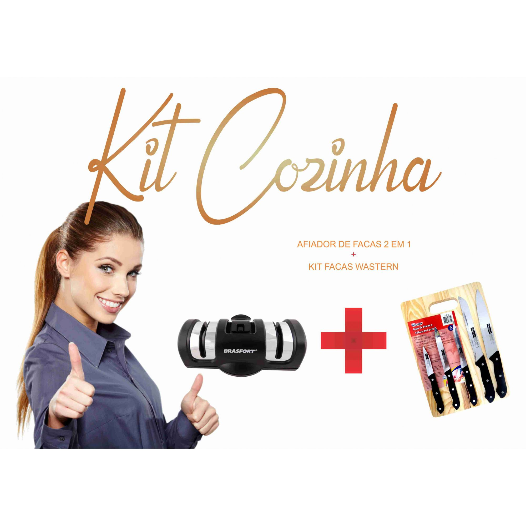 Kit Facas Wastern c/ Tabua de Cortes + Afiador de Facas 2 em 1 Brasfort