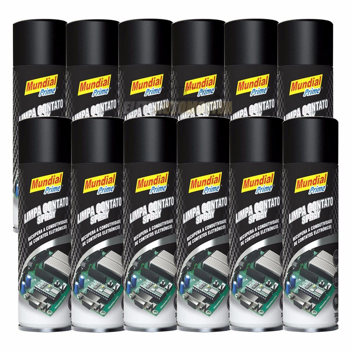 Kit Limpa Contato Elétrico 12 Unidades Mundial Prime Spray 300ml