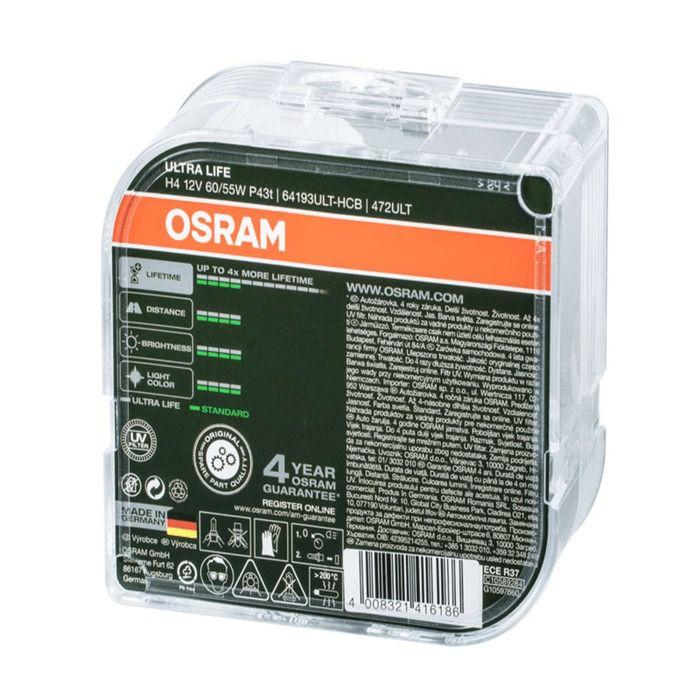 Lampada Farol Osram H4 Ultra Life 60/55w 12v 3200k 60% + Luz  - Rea Comércio - Sua Loja Completa!