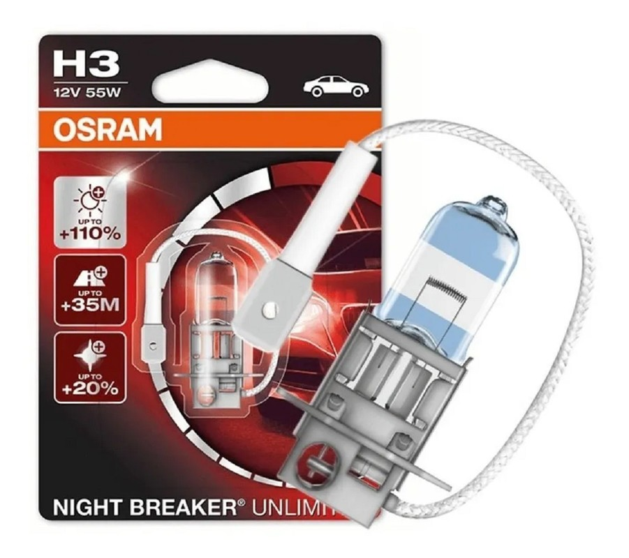 Lampada H3 Farol de Milha 110% Osram Night Breaker Unlimited   - Rea Comércio - Sua Loja Completa!