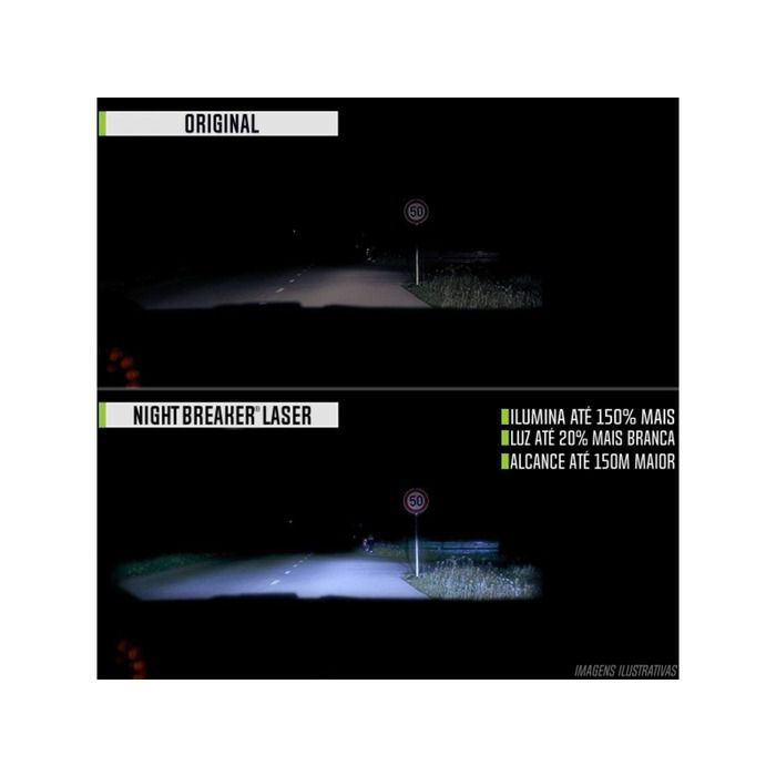 Lâmpada Night Breaker Laser H4 Par Farol 150% + Luz Osram  - Rea Comércio - Sua Loja Completa!